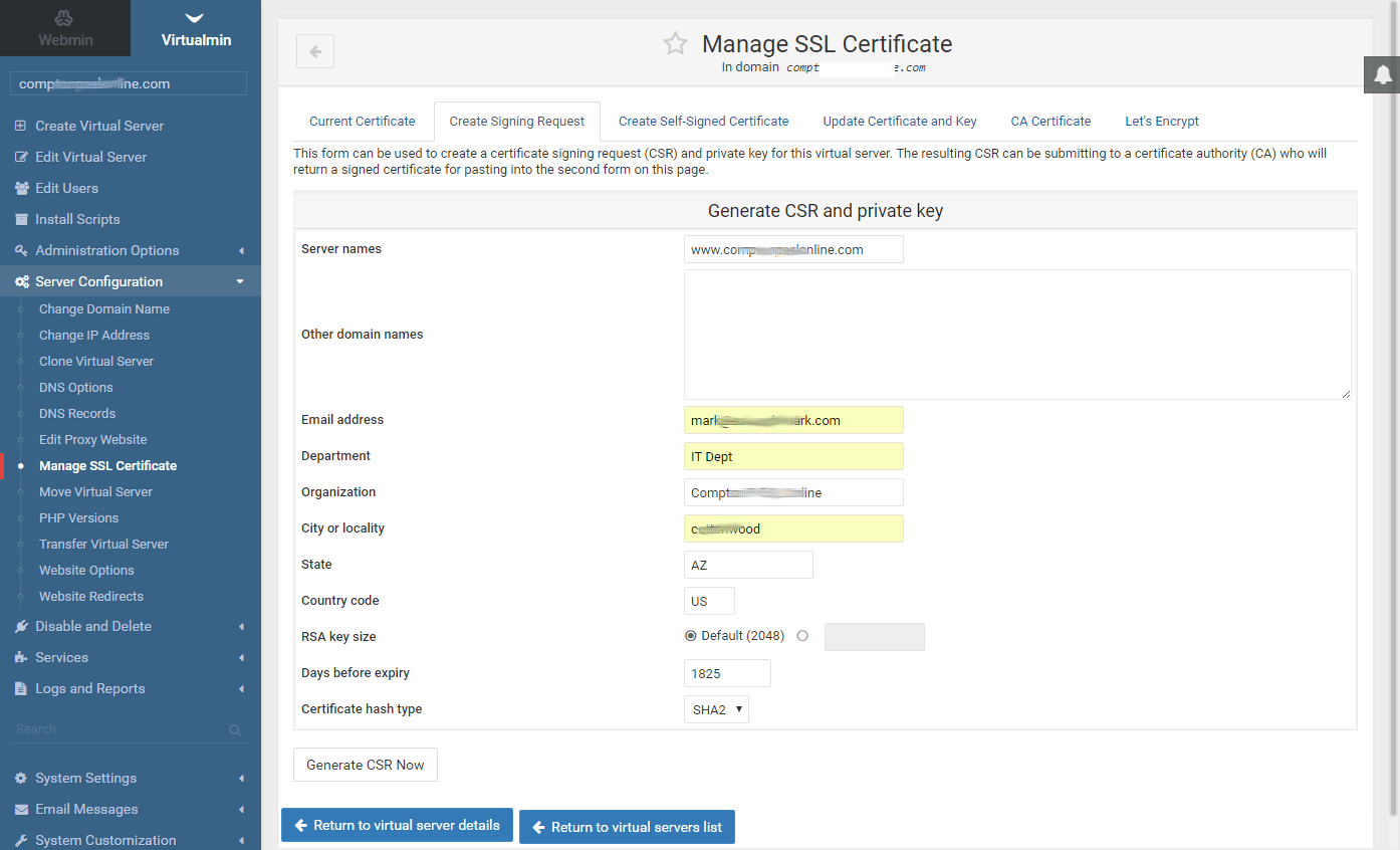 Marks notes virtualmin ssl ssh certification 4 in virtualmin serverconfigurationmanagesslcertificates enter create signing request create new ssly and sslr certification request files 1betcityfo Image collections