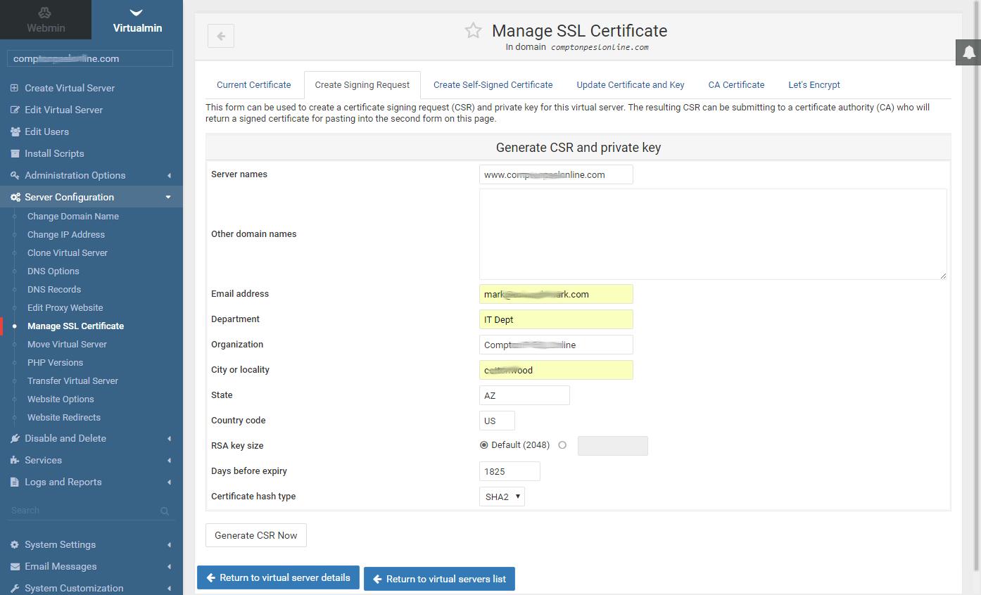 Marks Notes: virtualmin SSL (ssh) certification