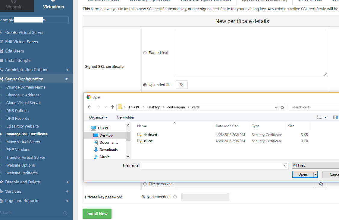 Marks Notes Virtualmin Ssl Ssh Certification